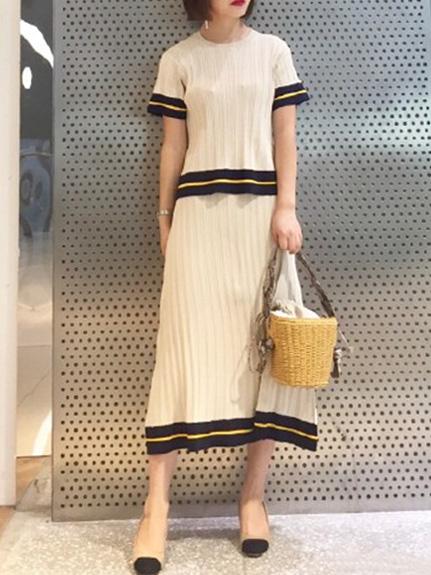 線條造型羅紋衣裙組合