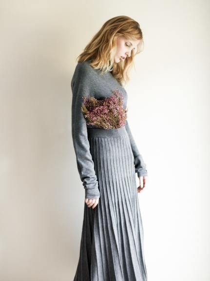無縫針織上衣x針織裙套裝