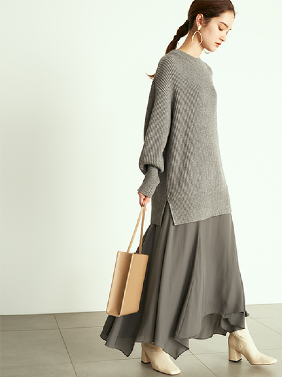 緞面裙拼接毛衣兩件式組合