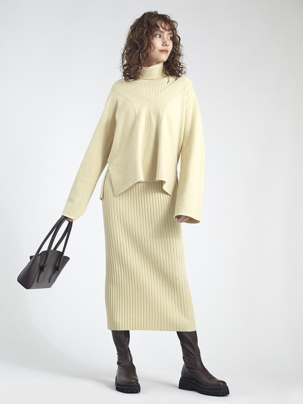 V領上衣層次連身裙組合
