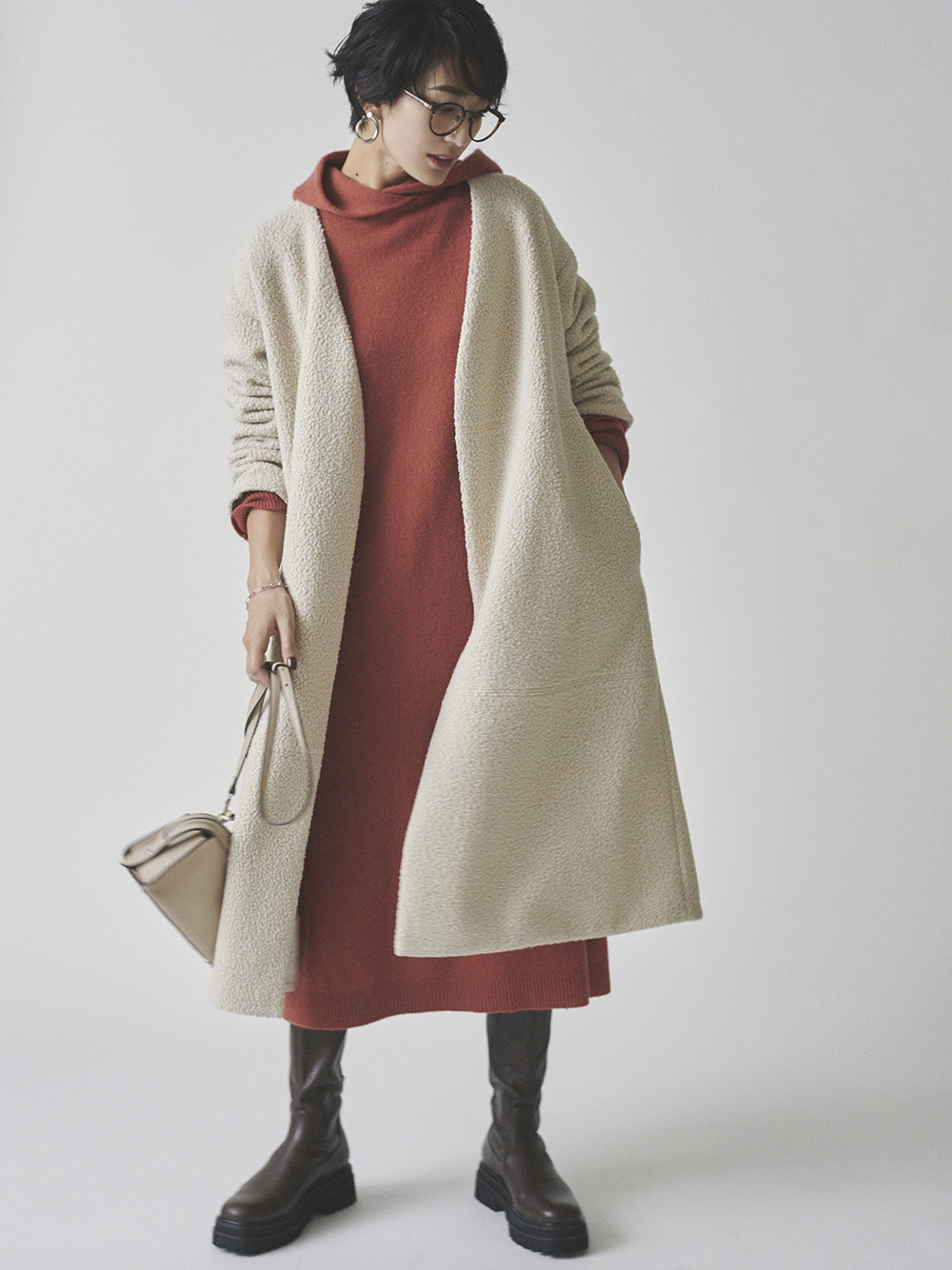混紡氂牛毛羊毛針織連身裙