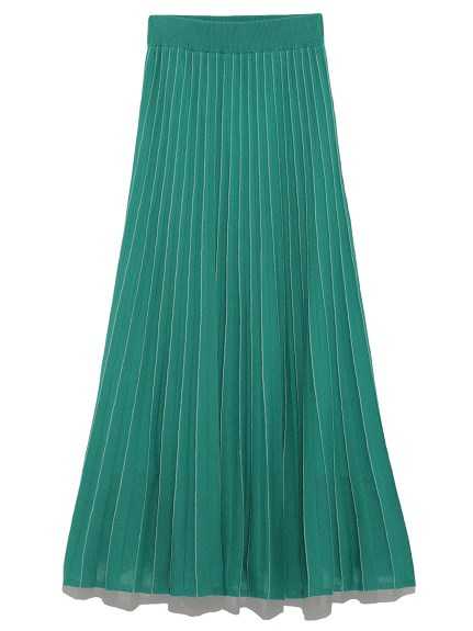 素色百摺針織長裙