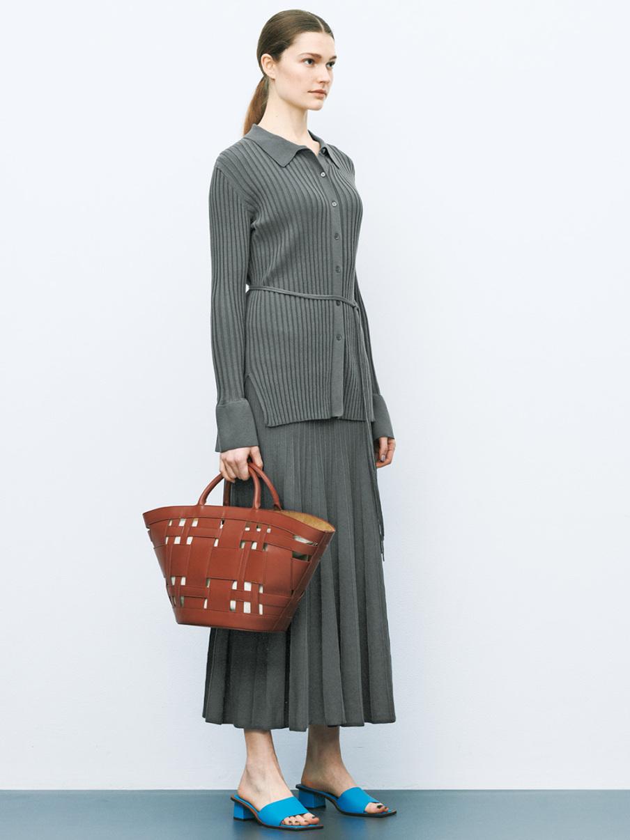有機棉羅紋針織傘襬裙