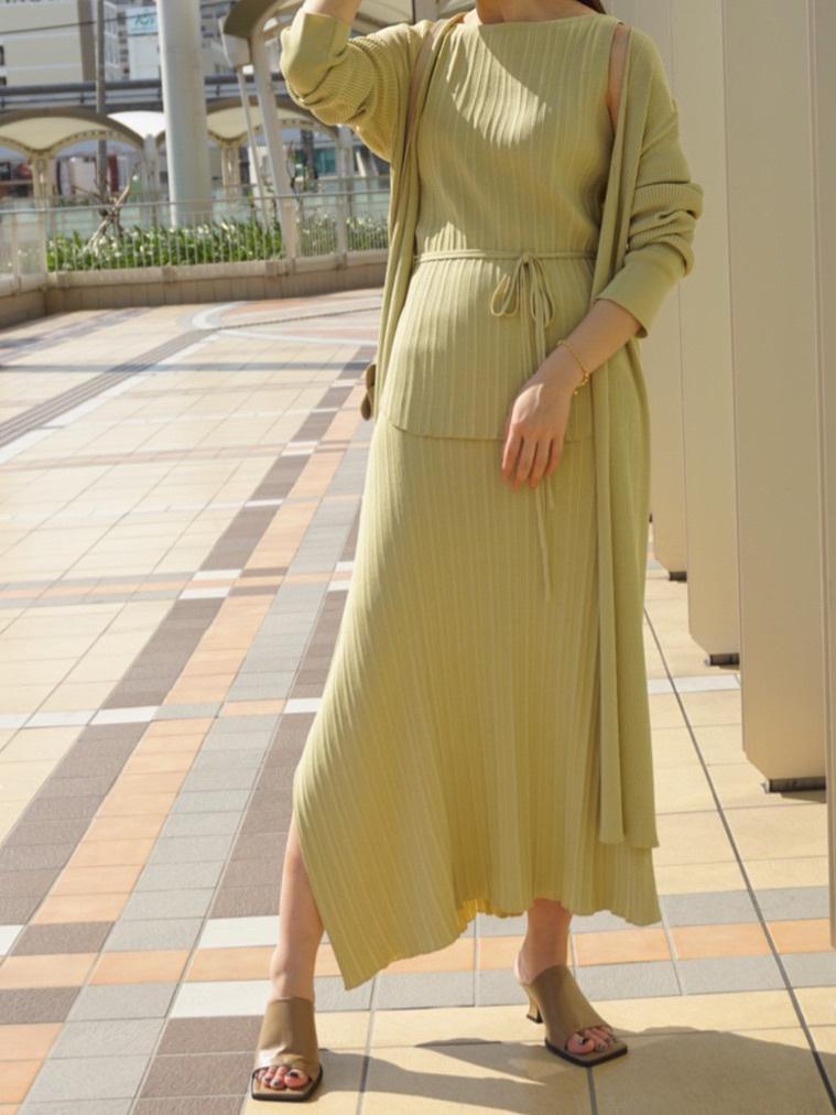 3件組-不對稱針織長裙