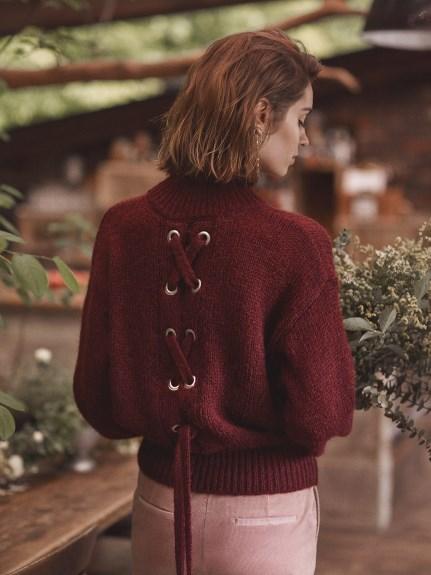 後交叉綁帶針織毛衣