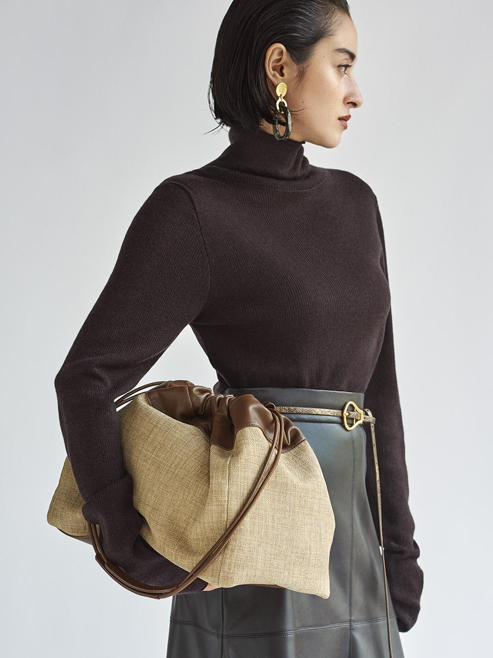 羊毛混紡羅紋高領針織上衣
