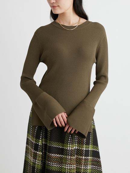 寬袖口造型羅紋針織上衣