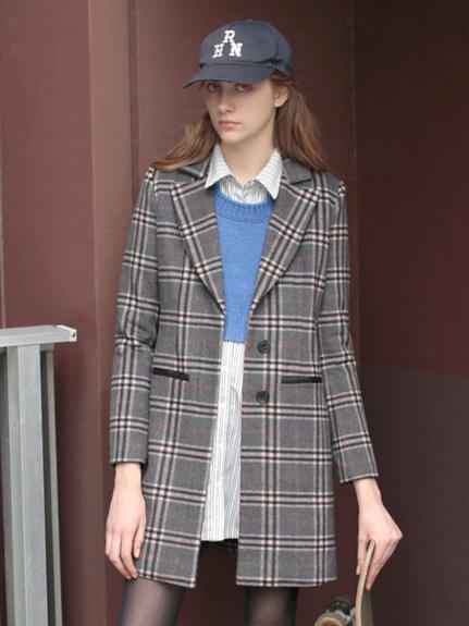 經典格紋羊毛大衣