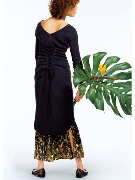 交叉綁帶素面連身裙