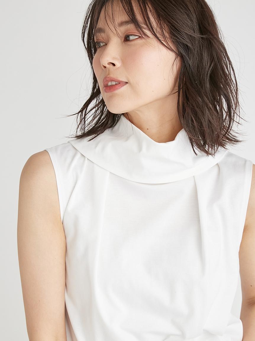 雙重領無袖純棉上衣