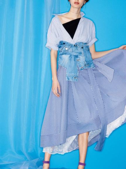 蝴蝶結襯衫開襟洋裝