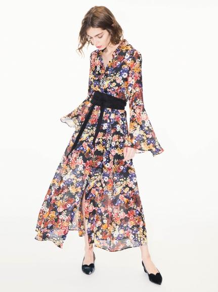 氣質荷葉袖長版洋裝