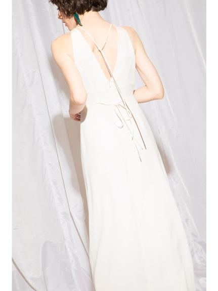 高雅削肩挖背長版洋裝
