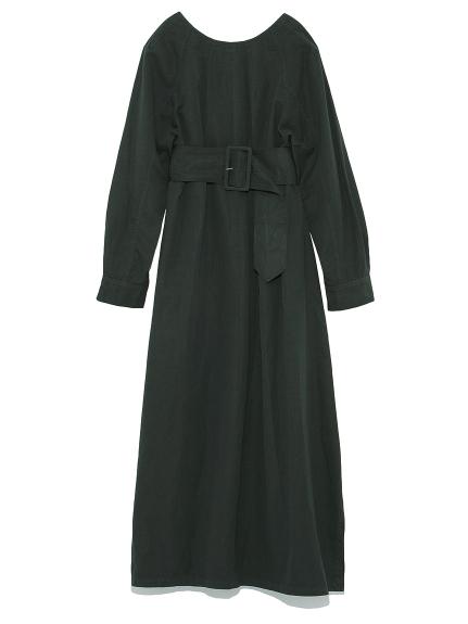V背長版腰帶洋裝