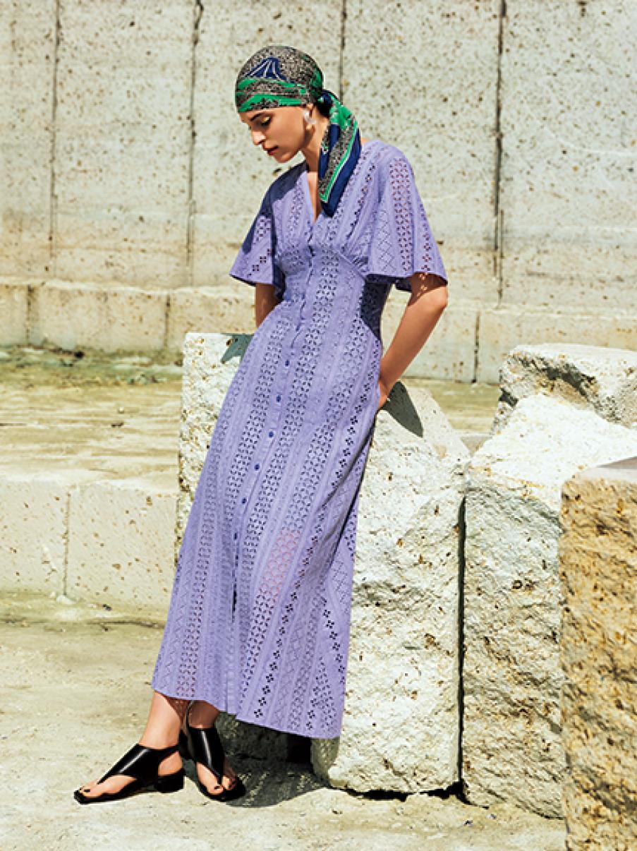 V領棉質蕾絲洋裝
