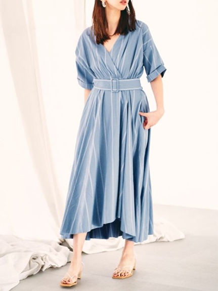 V領腰帶長版洋裝