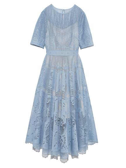 設計感蕾絲圓裙洋裝