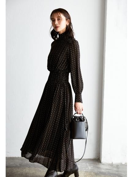 高領肩膀布釦連身裙