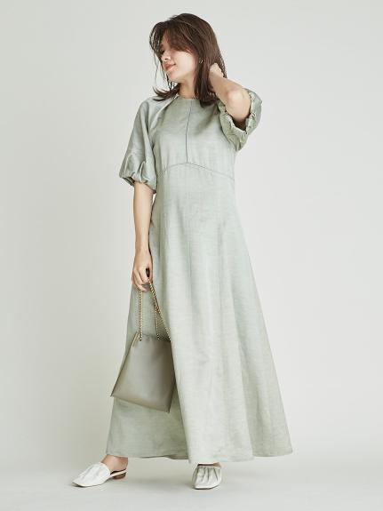 嫘縈亞麻混紡澎袖連身裙