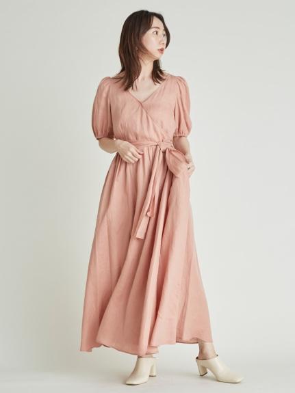 交叉領亞麻洋裝
