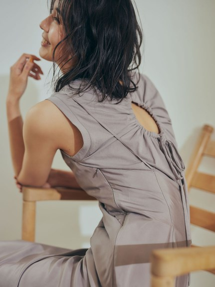 緞面細肩帶連身裙SET