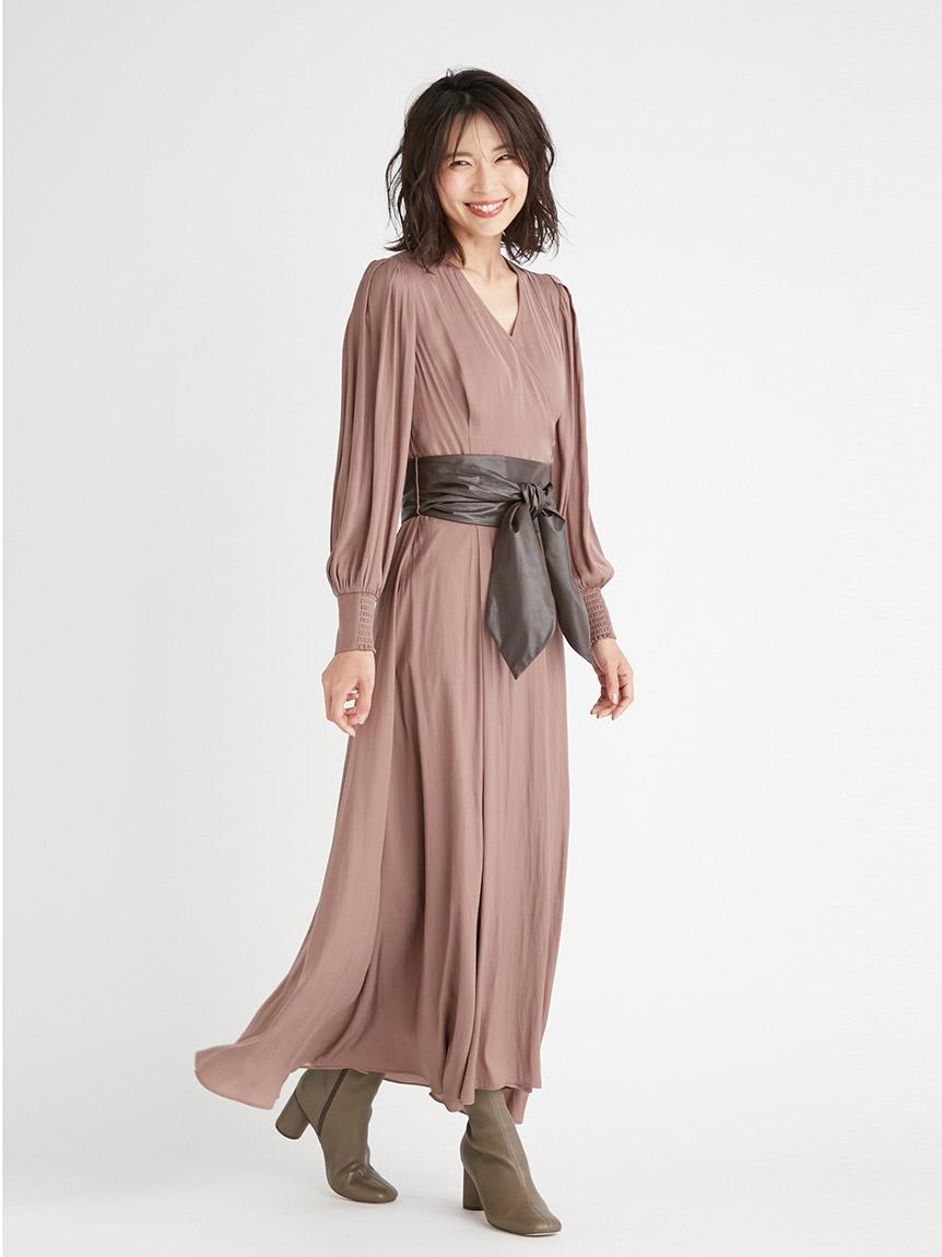 皮革腰帶交叉領連身裙