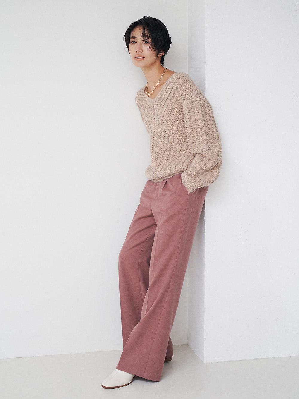 羊毛法蘭絨喇叭褲
