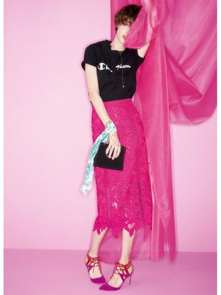 燒花蕾絲窄版長裙