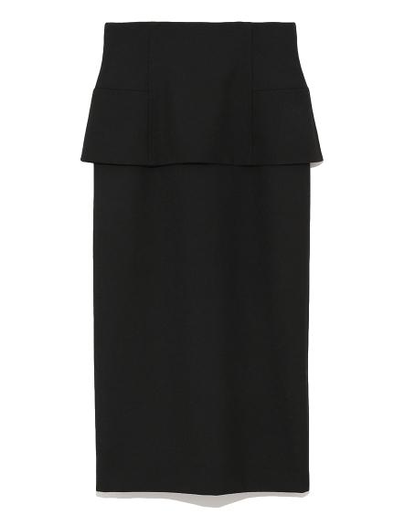 荷葉邊開衩中長窄裙