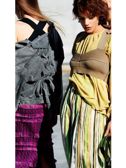 個性流蘇條紋窄裙