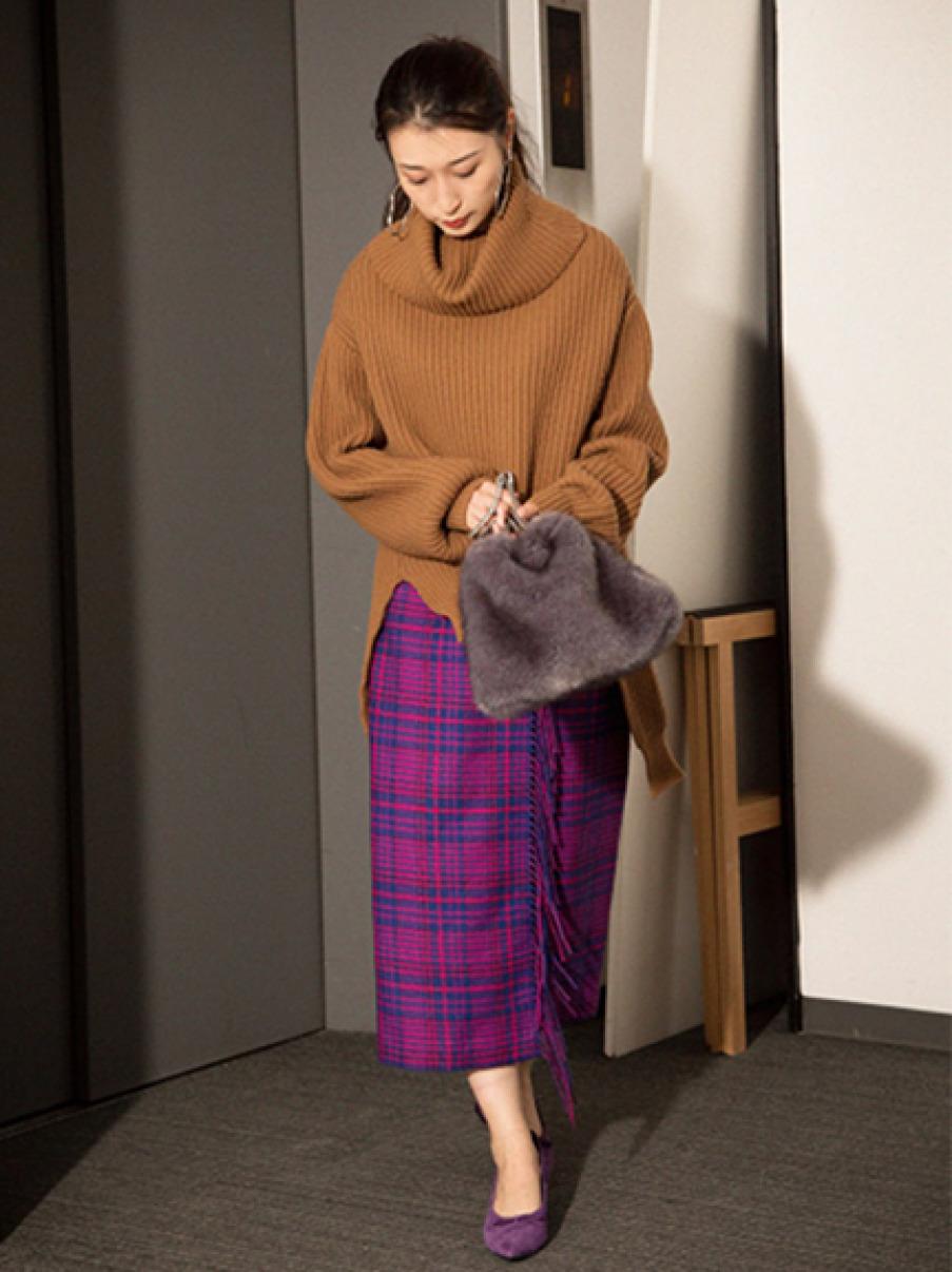 羊毛格紋流蘇長裙