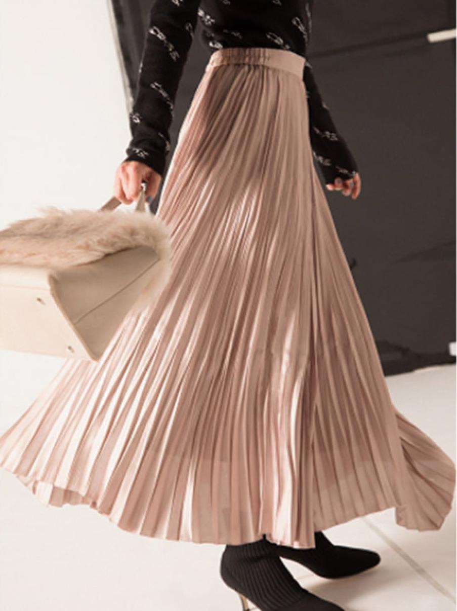 光澤感百褶長裙