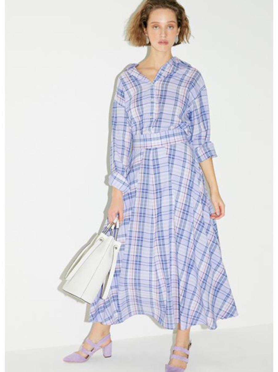 彩色格紋傘襬長裙