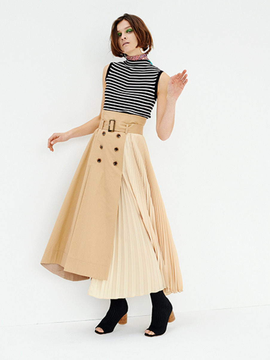 風衣拼接百褶長裙