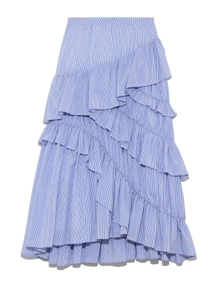 棉質不規則荷葉邊長裙