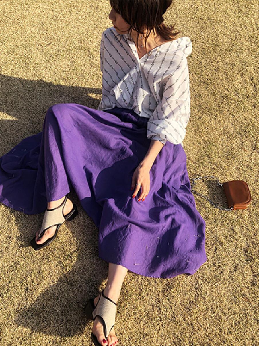 棉麻混紡長裙