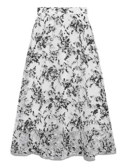花卉刺繡雙層長裙