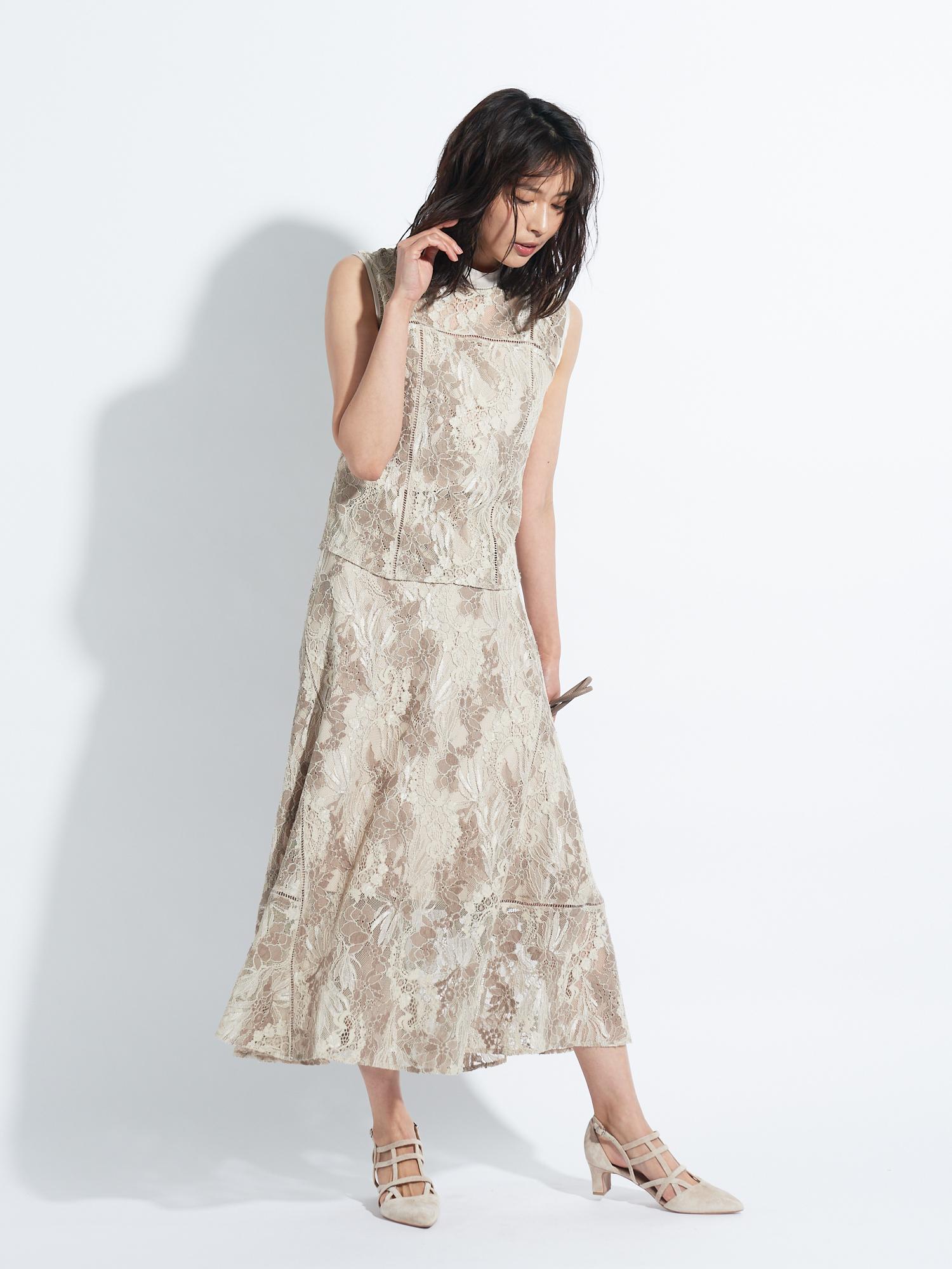 滿版蕾絲窄傘裙
