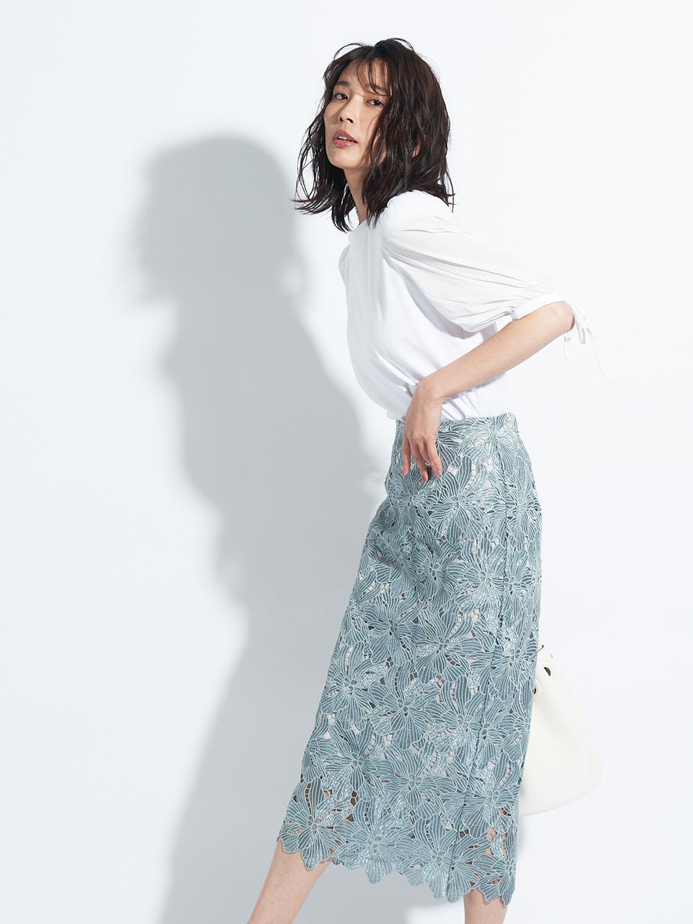 光感蕾絲窄裙