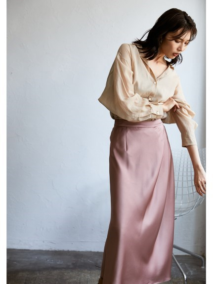 緞面抓褶窄裙