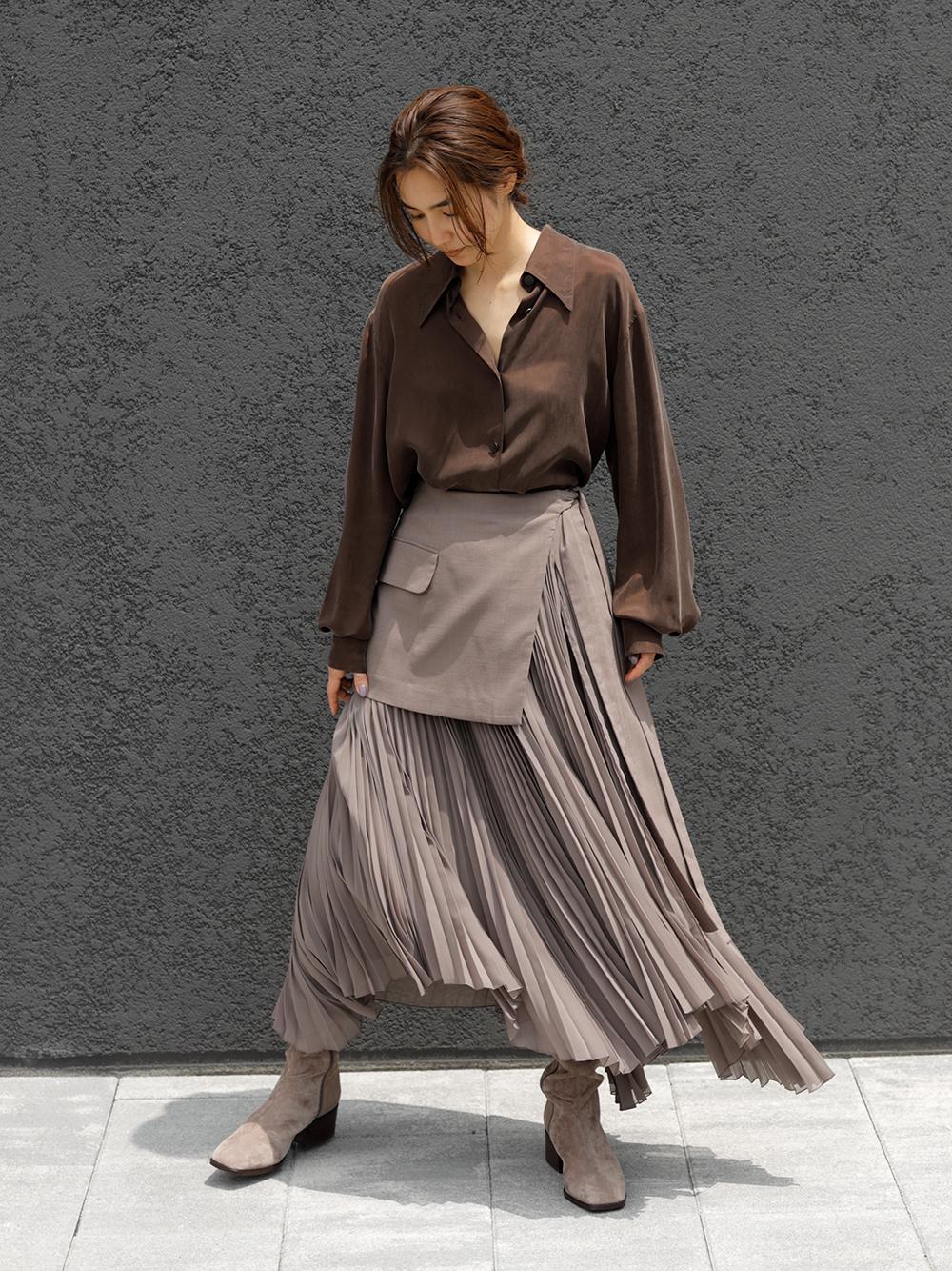 綁帶層次百褶裙