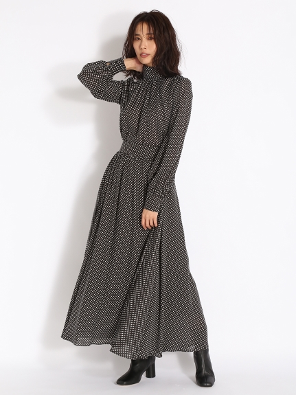 緞面抓褶寬襬及踝長裙