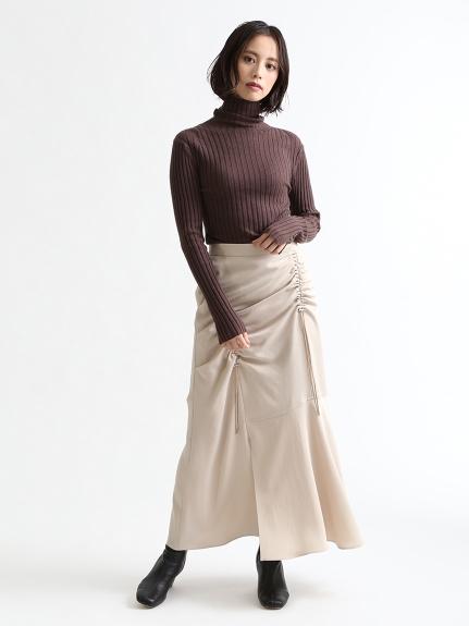 不對稱抽繩設計長裙