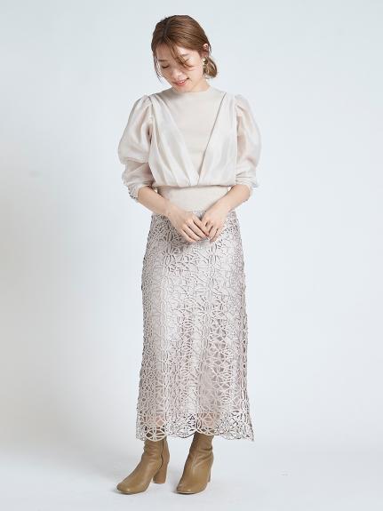 亮光蕾絲窄裙