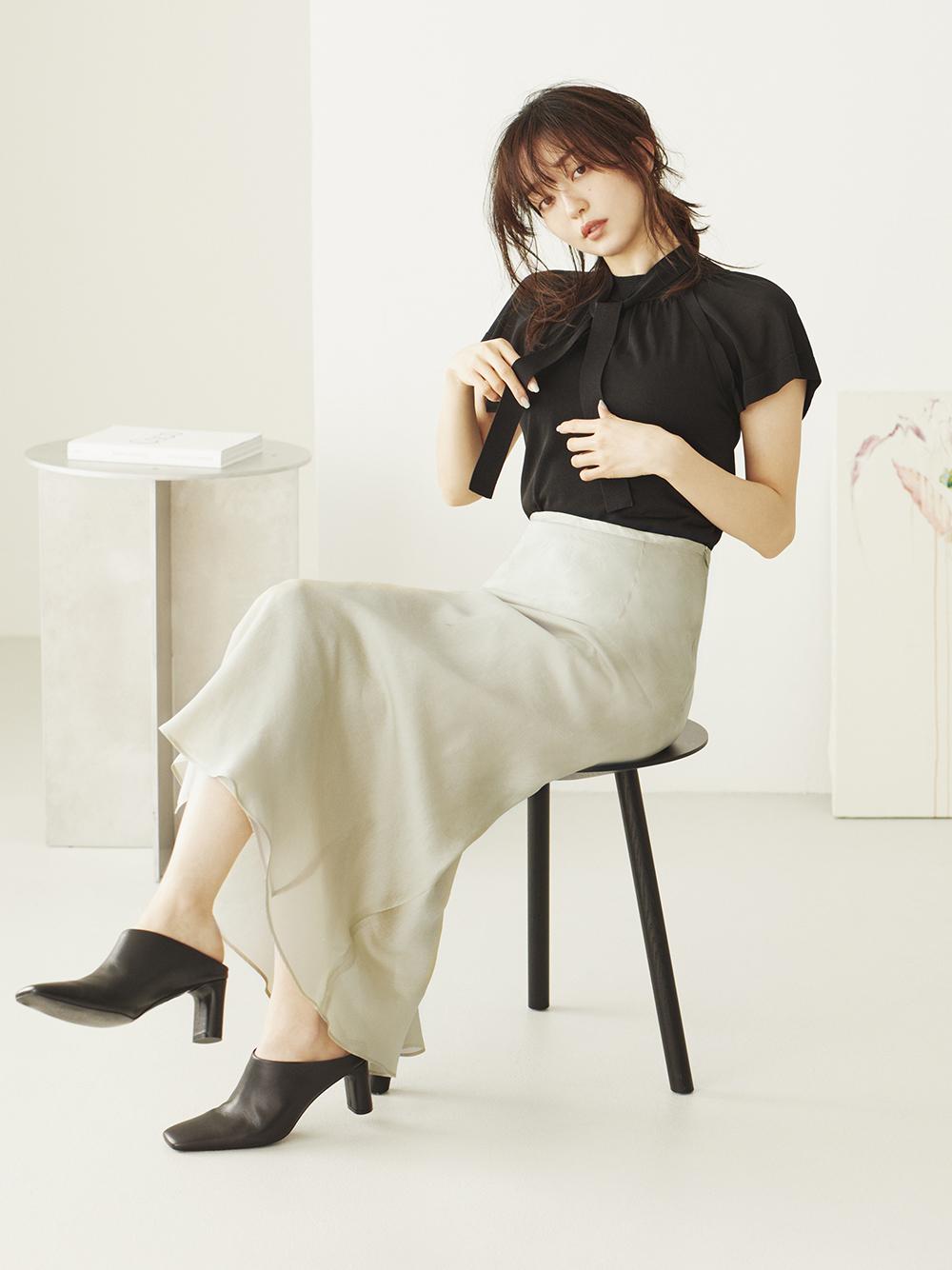 自然水洗棉微光澤窄裙