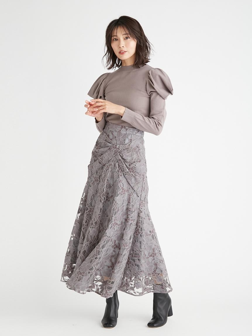 扭結造型蕾絲魚尾裙