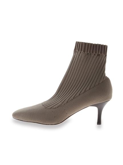 針織細跟短靴