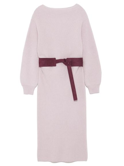 純色腰帶針織洋裝