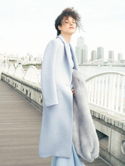 素面羅紋混羊毛洋裝