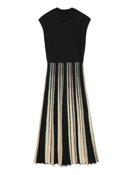 配色細褶針織洋裝